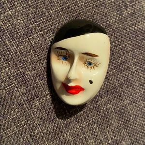 Vintage Original mime facial Brooch